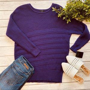 Alfani Purple Ribbed Knit Long Sleeve Sweater
